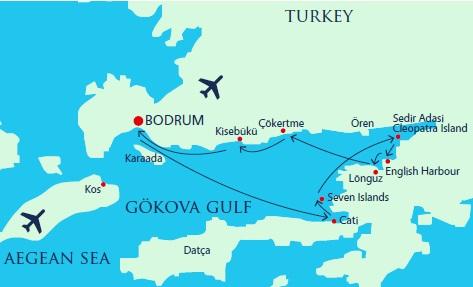 Map for Turkey Gulet Cruise