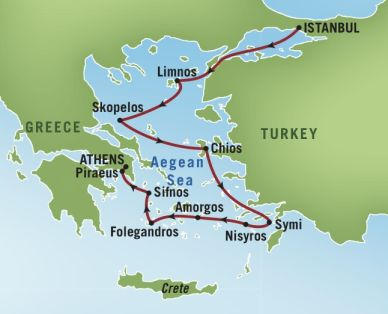 Map for Undiscovered Greek Islands