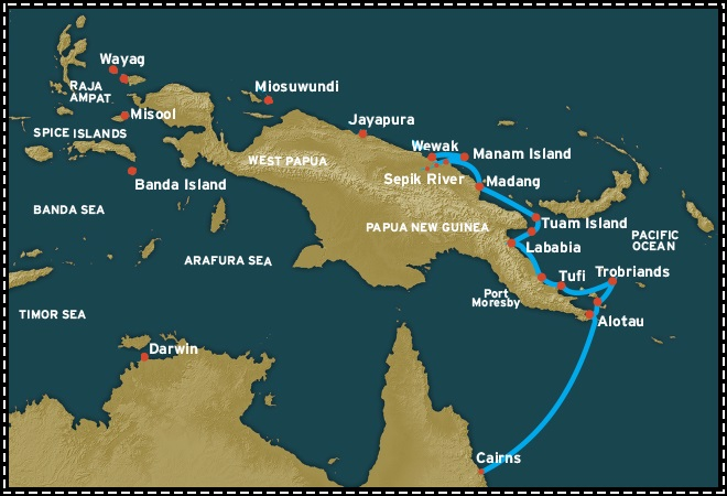 Map for New Guinea Circle (Cairns to Wewak)