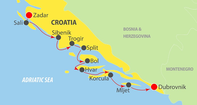 Map for Zadar to Dubrovnik in Luxury